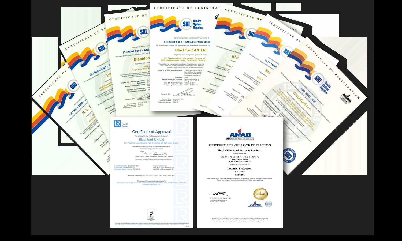 blachford acoustics certifications